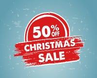 50 per cento fuori dalla vendita di natale in insegna disegnata rossa Immagini Stock