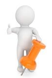 per fare concetto. persona 3d con la puntina da disegno arancio Fotografie Stock Libere da Diritti