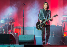 Per Gessle (Roxette) plays guitar and sings - concert in Khabaro Stock Images