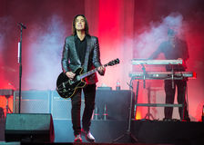 Per Gessle (Roxette) plays guitar and sings - concert in Khabaro Royalty Free Stock Photos