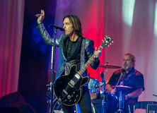 Per Gessle (Roxette) plays guitar and sings - concert in Khabaro Stock Photos