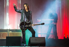 Per Gessle (Roxette) plays guitar and sings - concert in Khabaro Royalty Free Stock Photography