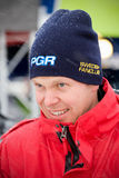 Per-Gunnar Andersson. HAGFORS, SWEDEN - FEBRUARY 10: Rally driver Per-Gunnar Andersson greets fans at the service place during the World Rally Championship event Stock Image