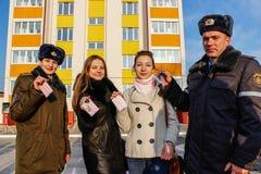 Per i giovani professionisti degli appartamenti in nuova costruzione nella regione di Homiel'di Bielorussia Fotografia Stock