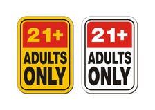 21 per i segni degli adulti soltanto Fotografia Stock