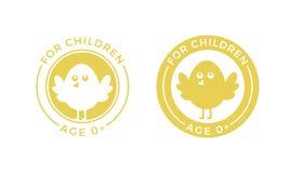 Per il pulcino del fumetto di vettore dell'etichetta di età dei bambini illustrazione vettoriale