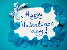 Per il San Valentino ed i cuori felici dell'iscrizione di San Valentino fotografia stock libera da diritti