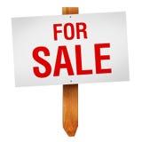 Per il segno di vendita isolato su fondo bianco Fotografia Stock