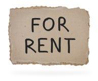 Per l'iscrizione di affitto sulla parte di cartone. Immagini Stock