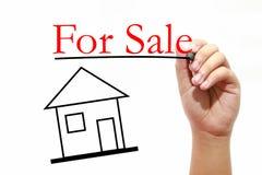 Per la vendita - concetto di Real Estate - la Camera con testo ed il maschio passano w Immagine Stock Libera da Diritti