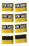 Per la vendita e per i segni di affitto fotografia stock libera da diritti