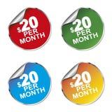 $20 per month sticker. Set Vector Illustration