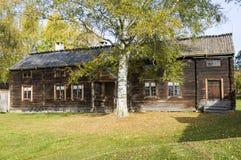 Per-Nilsas dwelling house Delsbo. Old wooden dwelling house of Per-Nilsas at Delsbo homestead museum (Swedish: Delsbo forngård). Delsbo, Halsingland (Swedish: H Stock Photo