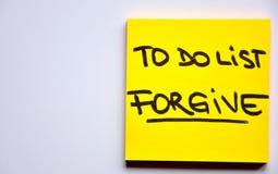 Per per fare concetto della lista: perdoni Fotografie Stock