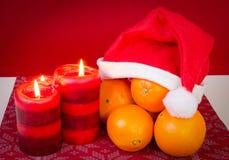 Per seizoen Kerstmissamenstelling met sinaasappel Royalty-vrije Stock Foto