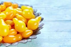 Pera amarela e herança Cherry Tomatoes de Datterino Imagem de Stock