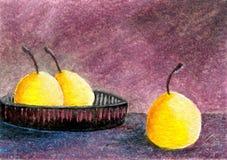 Pera amarilla de la pintura al óleo Imagenes de archivo