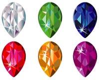 A pera cortou pedras preciosas com faísca Imagens de Stock