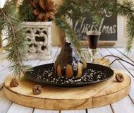 Pera da tavola di Natale con cioccolato Immagine Stock Libera da Diritti