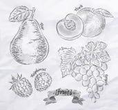 Pera de la fruta, melocotón, frambuesa, vintage de la uva ilustración del vector
