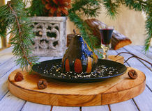 Pera de sobremesa do Natal com chocolate foto de stock