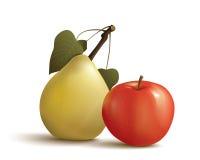 Pera e maçã Foto de Stock