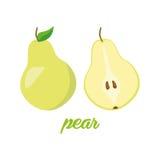 A pera frutifica cartaz no estilo dos desenhos animados descrição inteira e metade Suculento fresco ao incluir branco do fundo Imagens de Stock