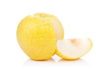 Pera gialla isolata su un bianco Immagini Stock Libere da Diritti