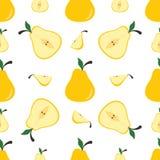 Pera gialla su un fondo bianco Fondo senza cuciture Fotografia Stock