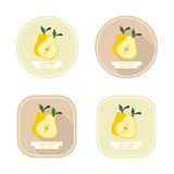 Pera gialla succosa delle icone con le ombre lunghe Immagini Stock