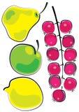 Pera, manzana, limón y pasas rojas aislados en el fondo blanco Imagenes de archivo