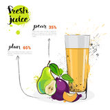 Pera Plum Mix Cocktail Of Fresh Juice Hand Drawn Watercolor Fruits e vidro no fundo branco Fotografia de Stock