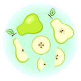 Pera verde plana fijada - fruta partida aislada Imágenes de archivo libres de regalías