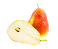 Pera vermelha e amarela madura e pera meias. Imagem de Stock