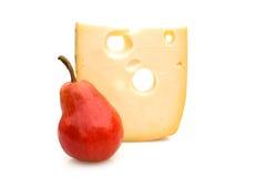 Pera y queso de Emmenthal Imagenes de archivo