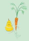 Pera y zanahoria Imagenes de archivo