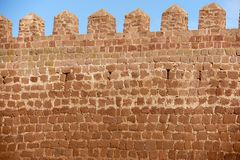 Peracense. Close up wall in Peracense Castle, X-XI centuries, in Teruel province, Aragon, Spain royalty free stock photo
