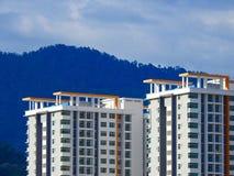 Perak, Малайзия 12-ое декабря 2017: Крупный план коммерчески здания под конструкцией на Meru, Perak Селективный фокус и урожай fr Стоковая Фотография