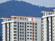 Perak, Малайзия 12-ое декабря 2017: Крупный план коммерчески здания под конструкцией на Meru, Perak Селективный фокус и урожай fr стоковое фото rf