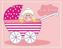 Perambulator met babymeisje, creatieve vectorillustratie royalty-vrije illustratie