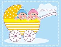 Perambulator met babymeisje en babyjongen, tweelingen, creatieve vectorillustratie vector illustratie