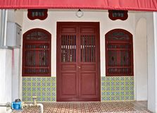 Peranakan shophouse with ornate tiling stock photography