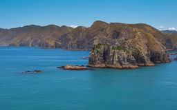 Perano Head and Raukawa Rock seen from the Ferry to Picton, Quee Stock Image