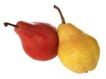 Peras amarillas y rojas Fotografía de archivo