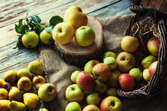 Peras e maçãs na tabela de madeira branca Fotografia de Stock