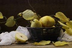 Peras en una cesta wattled, nueces y una rama de un li del otoño Imagen de archivo