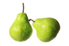 Peras frescas isoladas no fundo branco Imagens de Stock