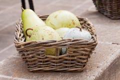 Peras maduras frescas en una cesta de mimbre Fotos de archivo libres de regalías