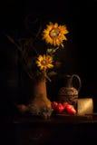 Peras y queso de los girasoles Fotos de archivo libres de regalías