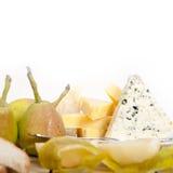 Peras y queso frescos Foto de archivo